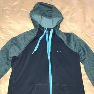 Blue therma-fit nike zip-up hoodie